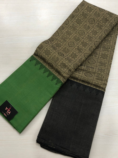 Moss green Chettinad cotton saree