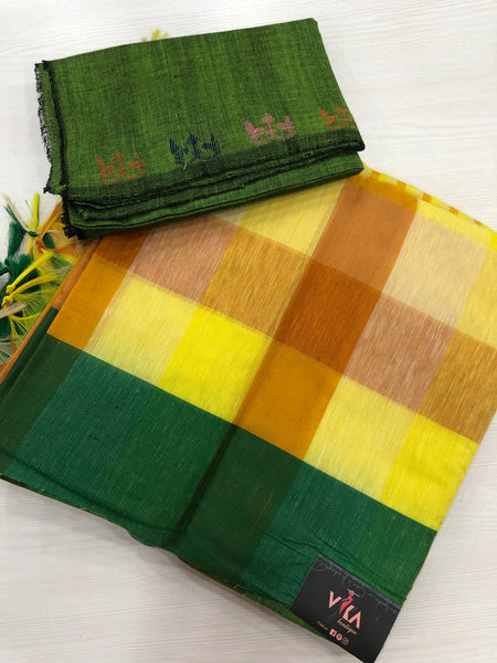 Checked slub cotton saree