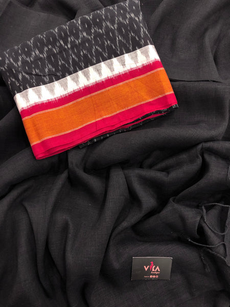 Black Linen saree with Ikat blouse