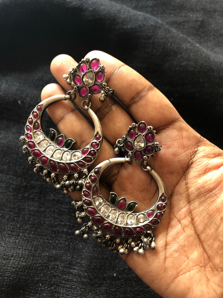 925 silver Chandbali earring