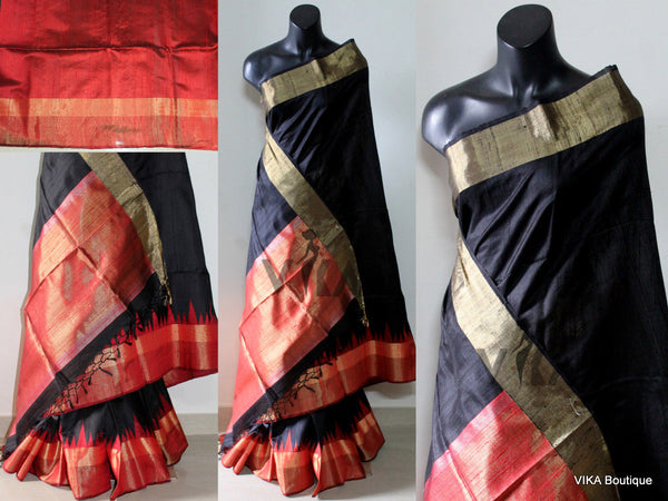 Black jute silk saree - VIKA Boutique