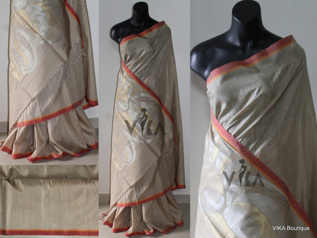 Beige soft jute silk saree - VIKA Boutique