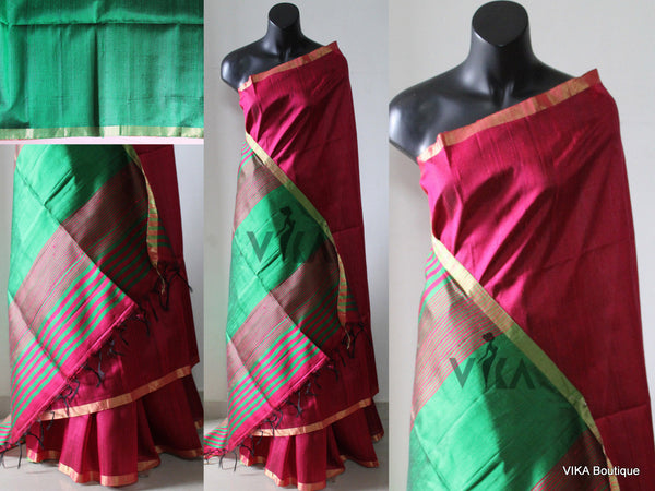 Dark pink jute silk saree