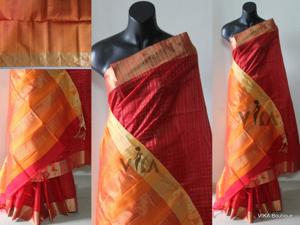 Red jute silk checked saree