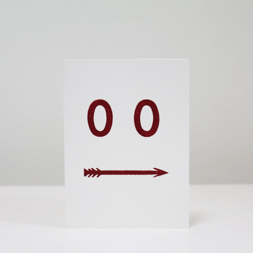 Letterpress Printed Greetings Card (Arrow Face)