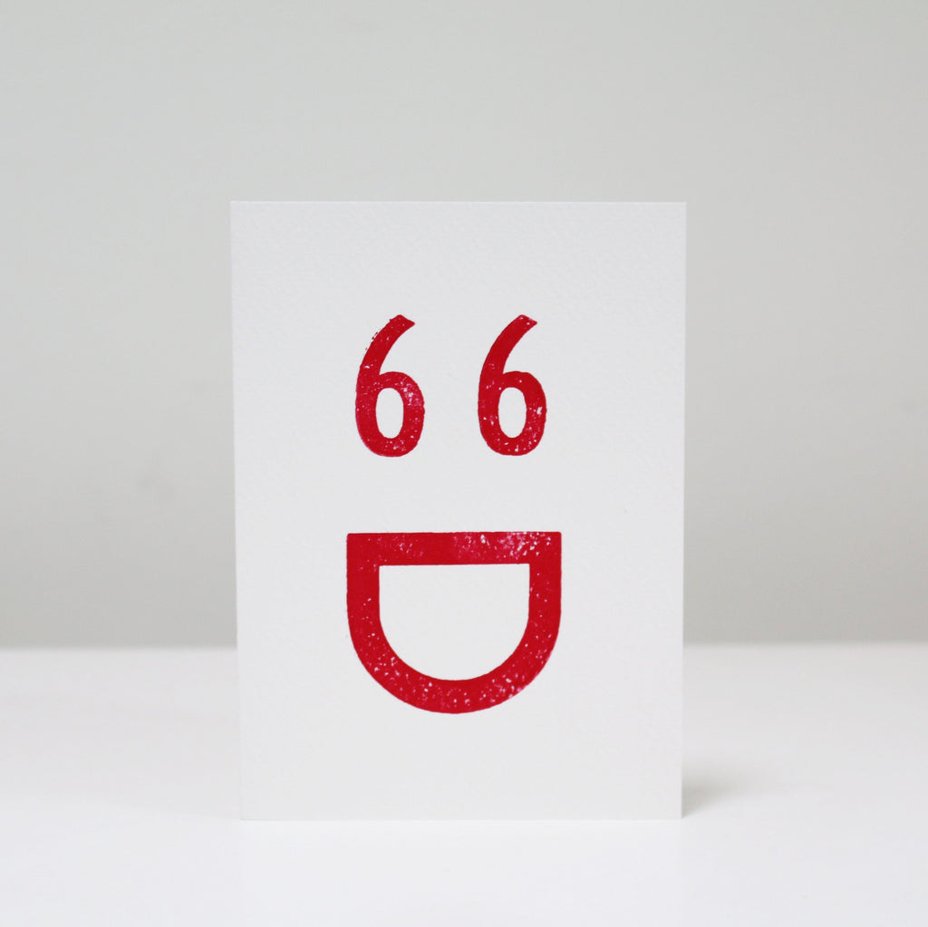 Letterpress Printed Greetings Card (Happy Face)