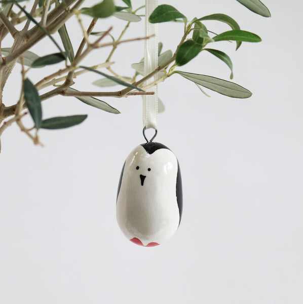 Hand Carved Wood Penguin Ornament