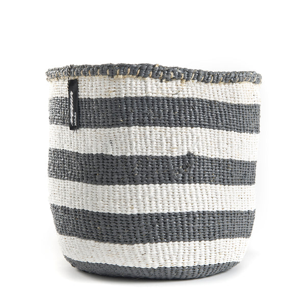 Small Grey and White Striped Kiondo Basket