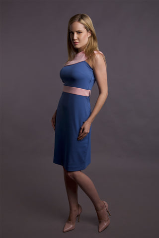 Pink In Blue Dress