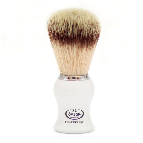 Omega HI-BRUSH SERIES Synthetic Fiber Hair with White Plastic Handle