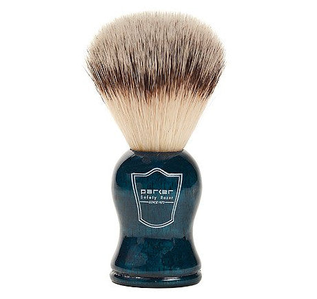 Parker Synthetic Bristle Shaving Brush with Blue Wood Handle