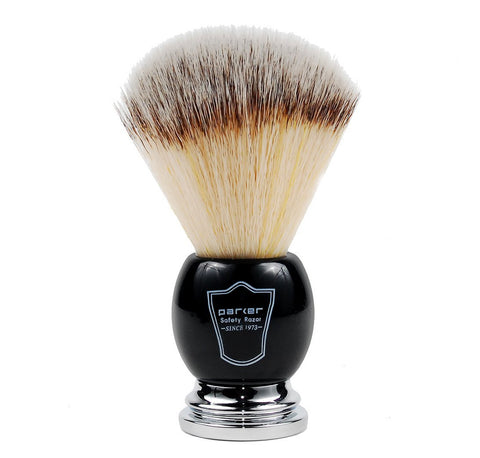 Parker Synthetic Bristle Shaving Brush with Deluxe Black and Chrome Handle