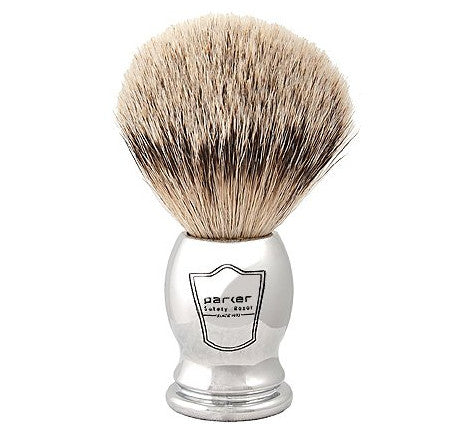 Parker 100% Silvertip Badger Bristle Shaving Brush with Chrome Handle