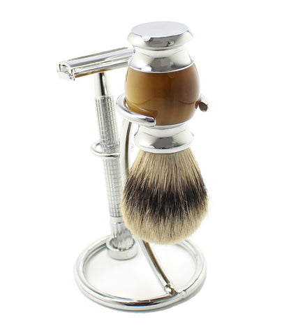 Shaving Set: Shaving Razor, Brush and Wire Brush Holder