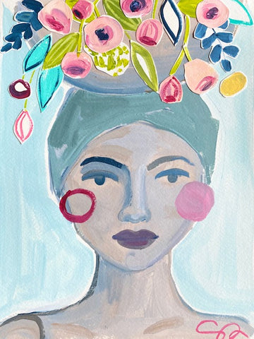 Christenberry Collection, Acrylic painting of a woman carrying a basket of flowers on her head