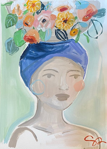 Christenberry Collection, Southern Artist, Woman carrying flowers on her head