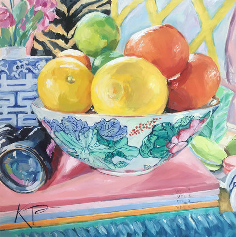 Southern Artist, Cold Fruit in a bowl acrylic painting with blues and greens, Artist is Kelly Pelfrey