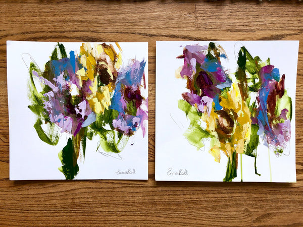 Florals on Paper IX painting Emma Bell - Christenberry Collection