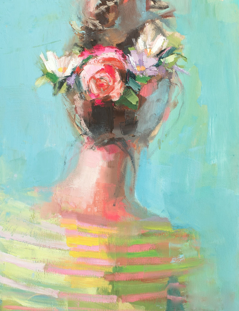 Pink Peony painting Teil Duncan - Christenberry Collection