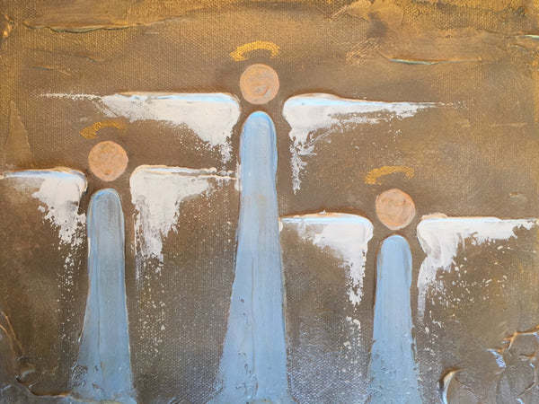 Triple Angels painting Lori Mitchell - Christenberry Collection