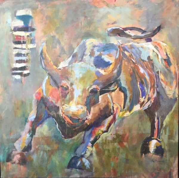 Wall Street Bull painting Amy Dixon - Christenberry Collection