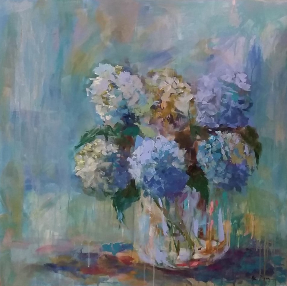 Intimate Blue painting Amy Dixon - Christenberry Collection