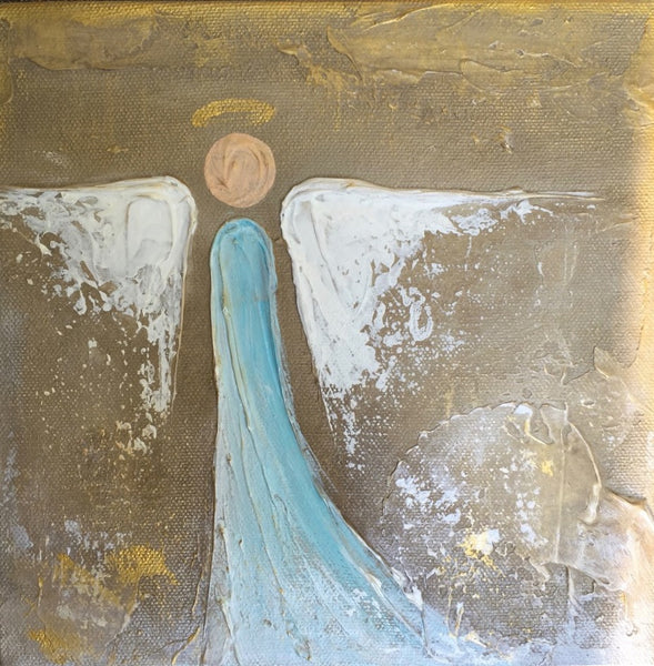Blue Mary Lois Angel painting Lori Mitchell - Christenberry Collection