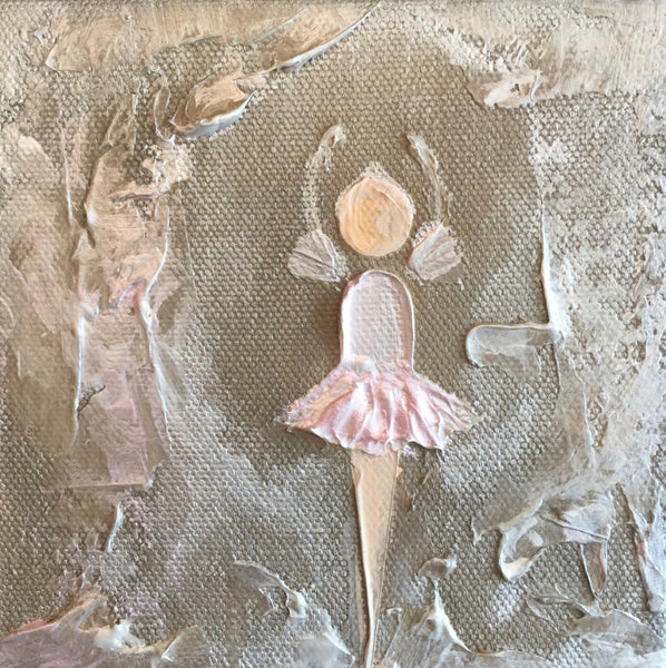 Little Ballerina with Pink Tutu painting Lori Mitchell - Christenberry Collection