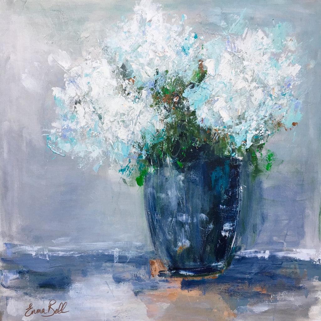 Hydrangeas in a Blue Vase painting Emma Bell - Christenberry Collection