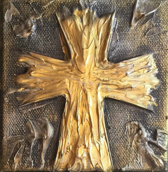 Gold on Brown Cross painting Lori Mitchell - Christenberry Collection