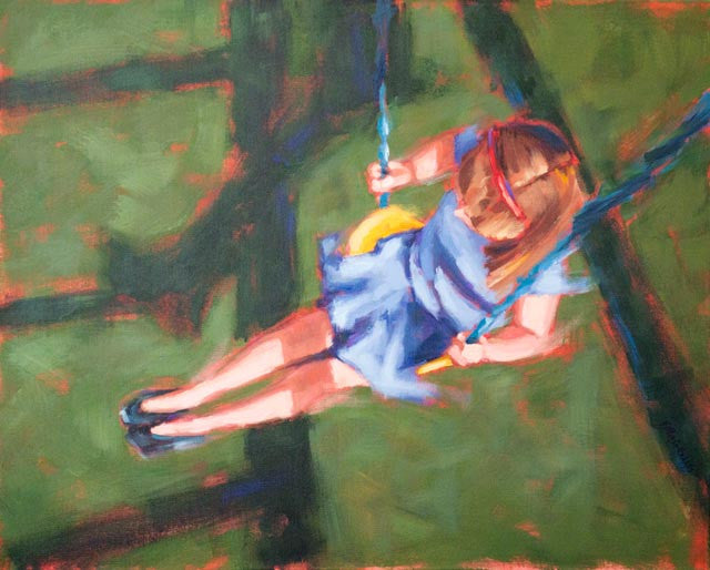 Swing Low, Blue painting Kelly Berger - Christenberry Collection