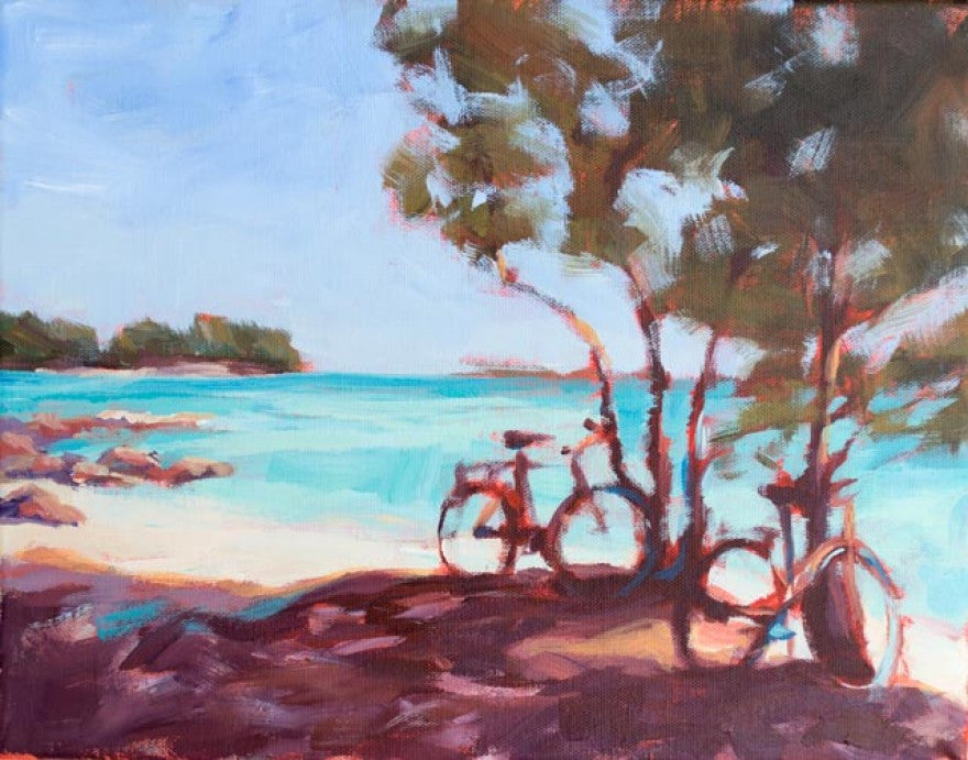 Beach Bikes painting Kelly Berger - Christenberry Collection