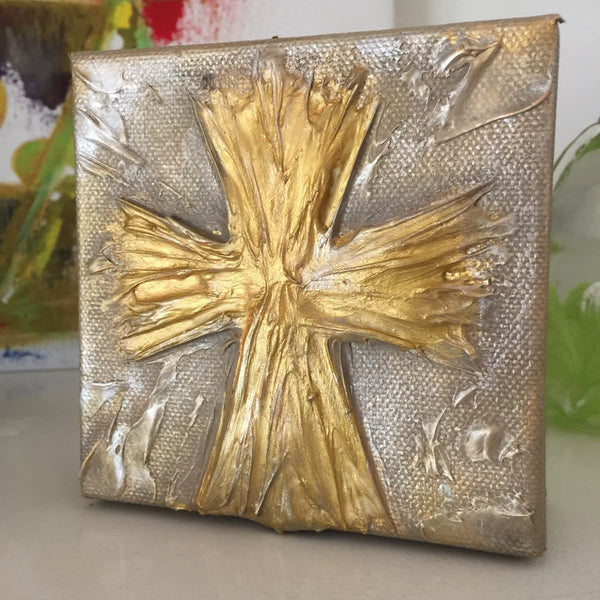 Gold on Tan Cross painting Lori Mitchell - Christenberry Collection