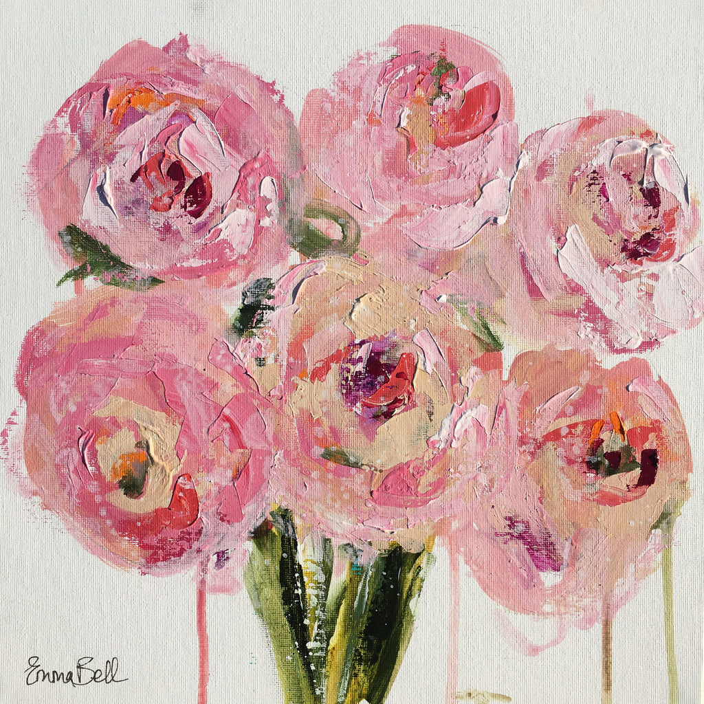 Peonies Mini Floral painting Emma Bell - Christenberry Collection
