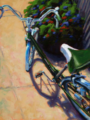 Bike Below painting Kelly Berger - Christenberry Collection
