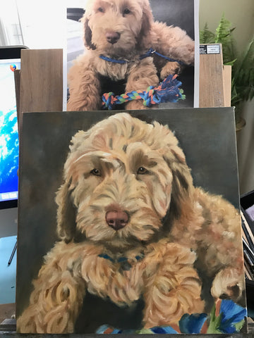 Commission Dog Portraits painting Leanne Lovice - Christenberry Collection