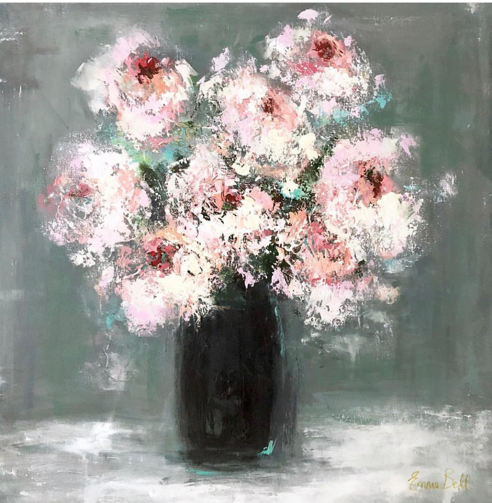 White Flowers in a Black Vase