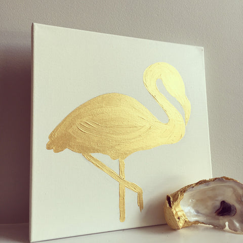 Gold Flamingo painting Mary Kathryn Kendig - Christenberry Collection