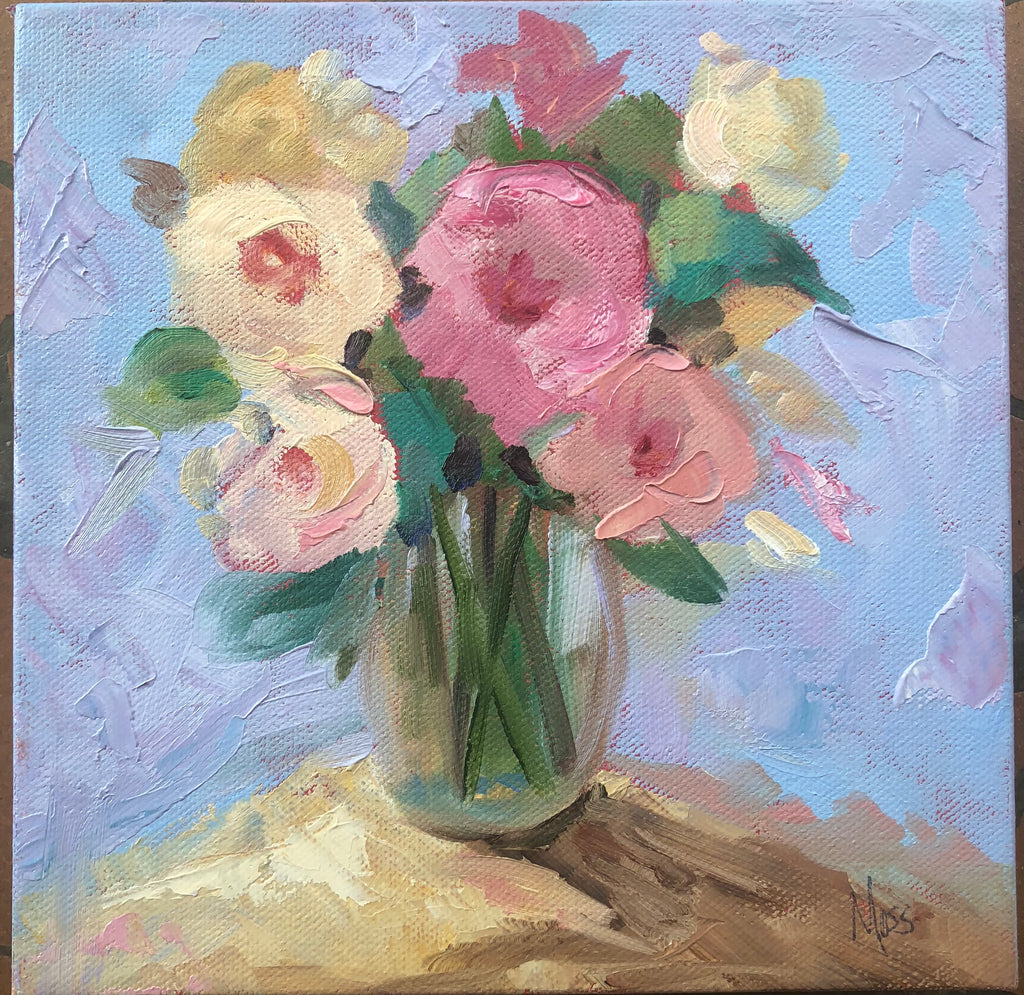 Floral Still Life painting Jenny Moss - Christenberry Collection