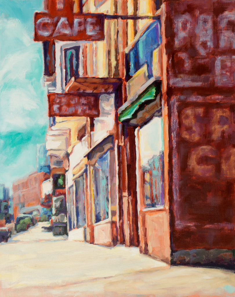 Cafe Corner painting Kelly Berger - Christenberry Collection