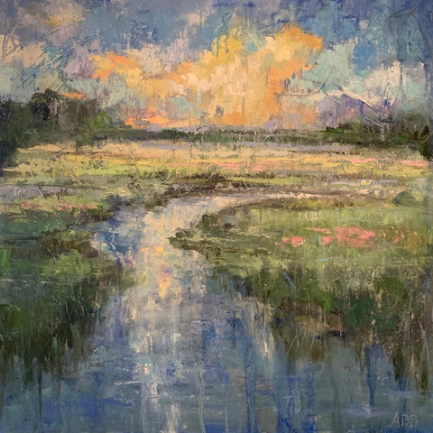 Creek at Dawn painting Ann Schwartz - Christenberry Collection