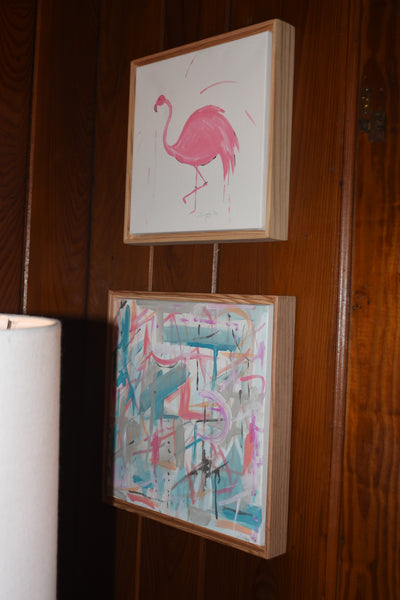 Abstract Pinks and Blues painting Jane Marie Edwards - Christenberry Collection