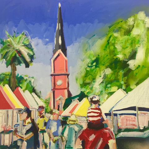 A Day at the Market painting Kate Waddell - Christenberry Collection