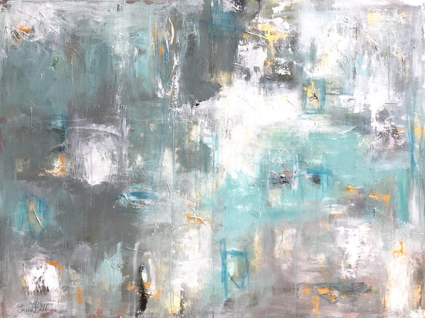 Grey Gold Illusion painting Emma Bell - Christenberry Collection