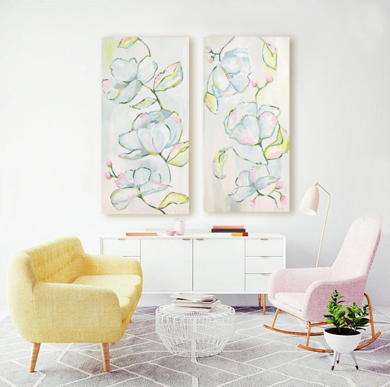 Floral Diptych painting Kristin Cooney - Christenberry Collection