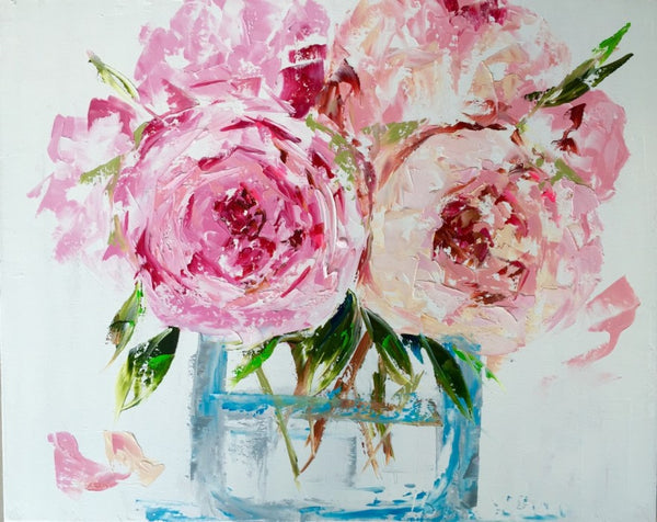 Peonies in a Glass Vase painting Emma Bell - Christenberry Collection