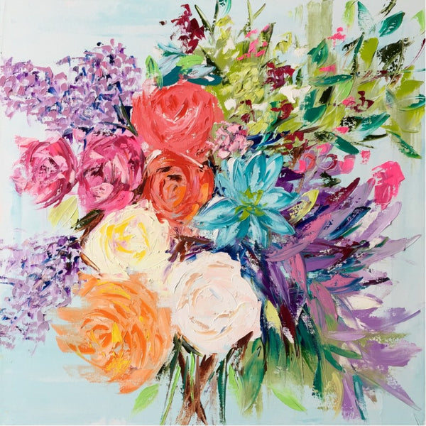 Bright Floral Bouquet painting Emma Bell - Christenberry Collection