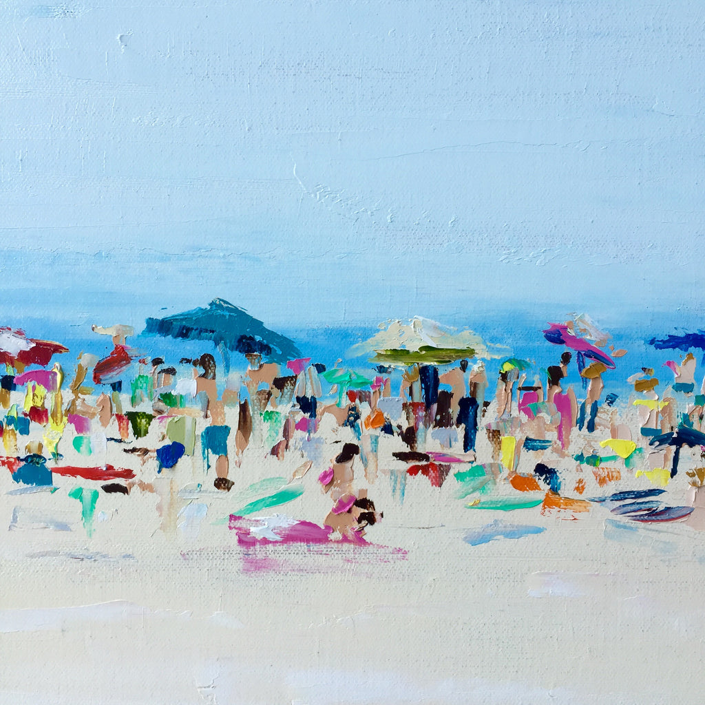 Beach Life - A Crowded Day painting Emma Bell - Christenberry Collection