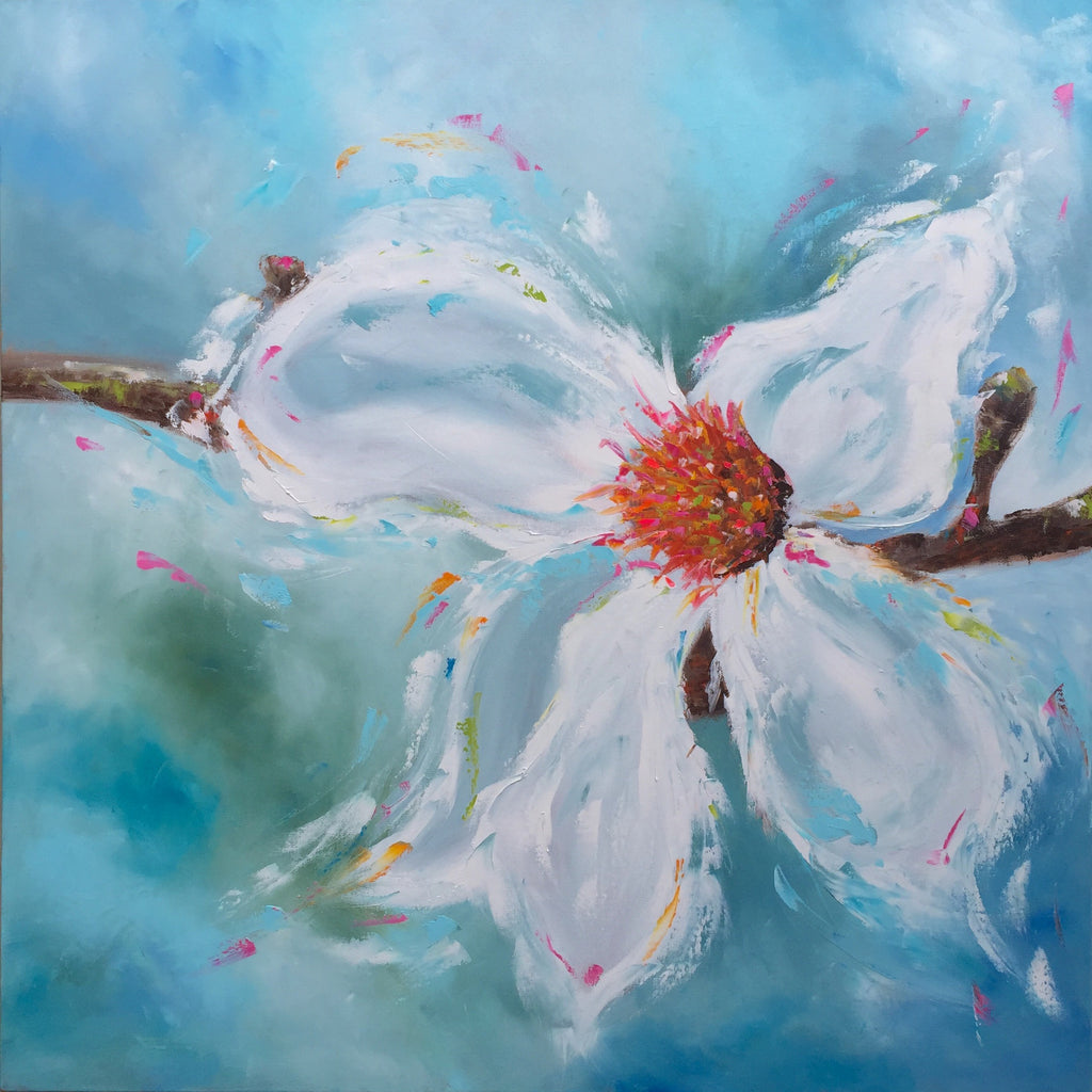 White Magnolia painting Emma Bell - Christenberry Collection