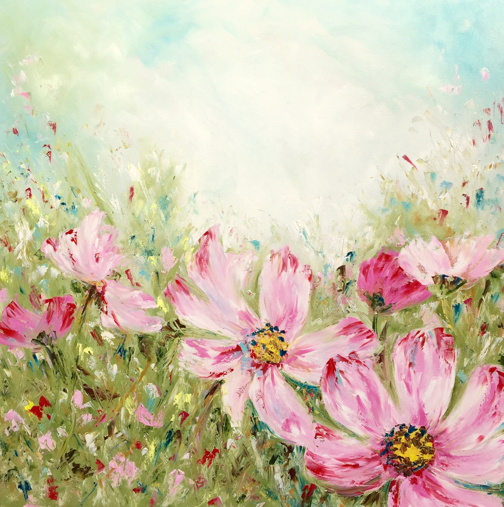 Pink Summer Meadow painting Emma Bell - Christenberry Collection